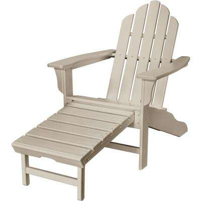 Sand All-Weather Plastic Outdoor Adirondack Chair with Hide-Away Ottoman