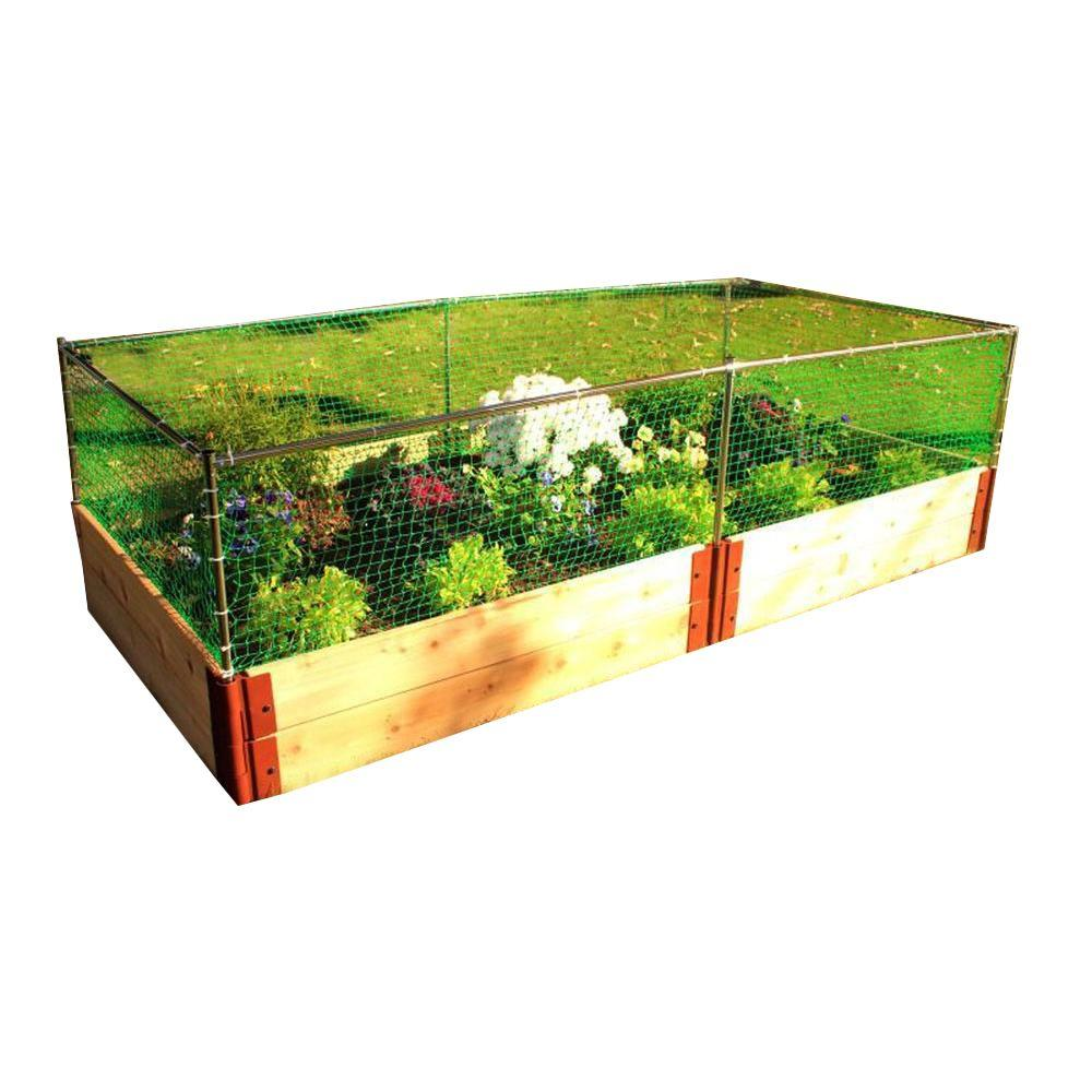 Frame It All One Inch Series 4 ft. x 8 ft. x 12 in. Cedar Raised Garden Bed Kit with Animal Barrier
