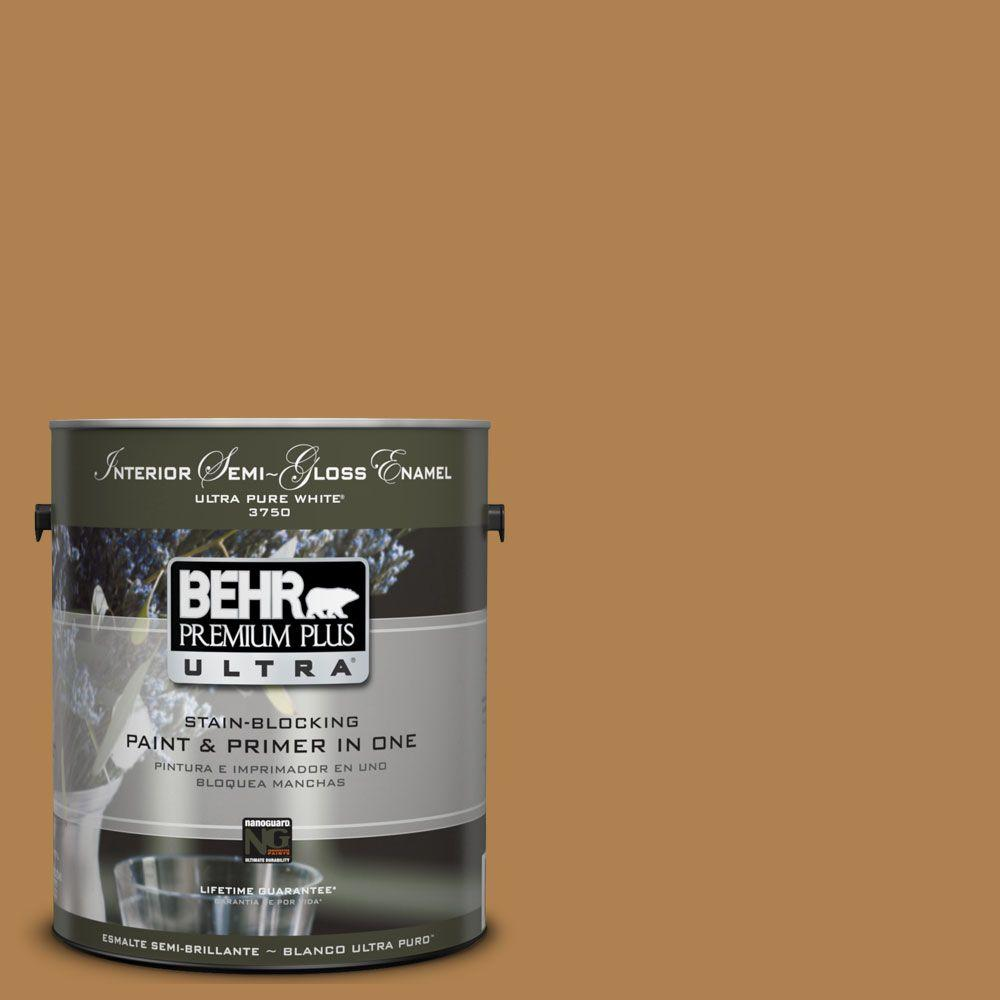BEHR Premium Plus Ultra 1-gal. #UL160-2 Gold Plated Interior Semi-Gloss Enamel Paint