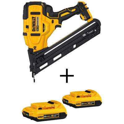 20-Volt MAX XR Lithium-Ion Cordless 15-GaugeAngled Finish Nailer(Tool-Only) with Bonus Battery Pack 2.0Ah (2-Pack)