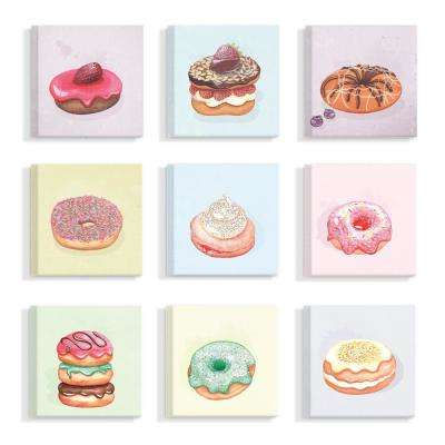 "12 in. x 12 in. ""Sweet Squares Set of Nine Pastel Donut"" by Artist Michelle Grace Design Canvas Wall Art(9Pieces)"