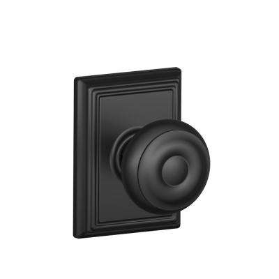 Georgian Matte Black Passage Hall/Closet Door Knob with Addison Trim