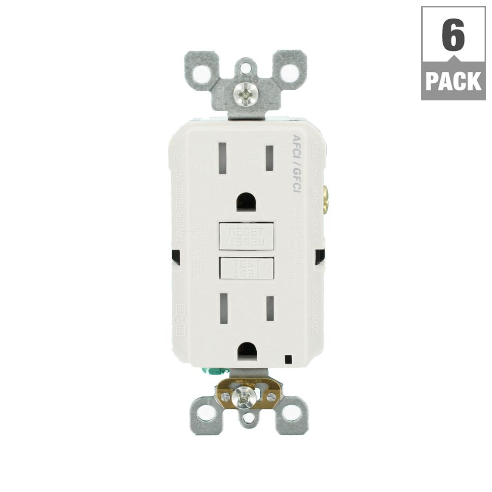 Leviton 42 Amp Decora 4 Port Usb Charger Combo Outlet White R02 Image For Circuit Breaker Finder With Gfci From Graybarstore 15 125 Volt Afci Dual Function 6