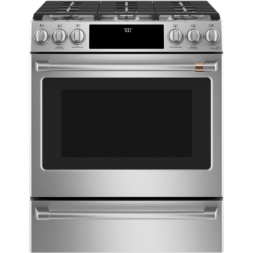 Cafe 30 in. 5.6 cu. ft. Smart Slide-In Gas Range with Self-Cleaning Convection Oven in Stainless Steel