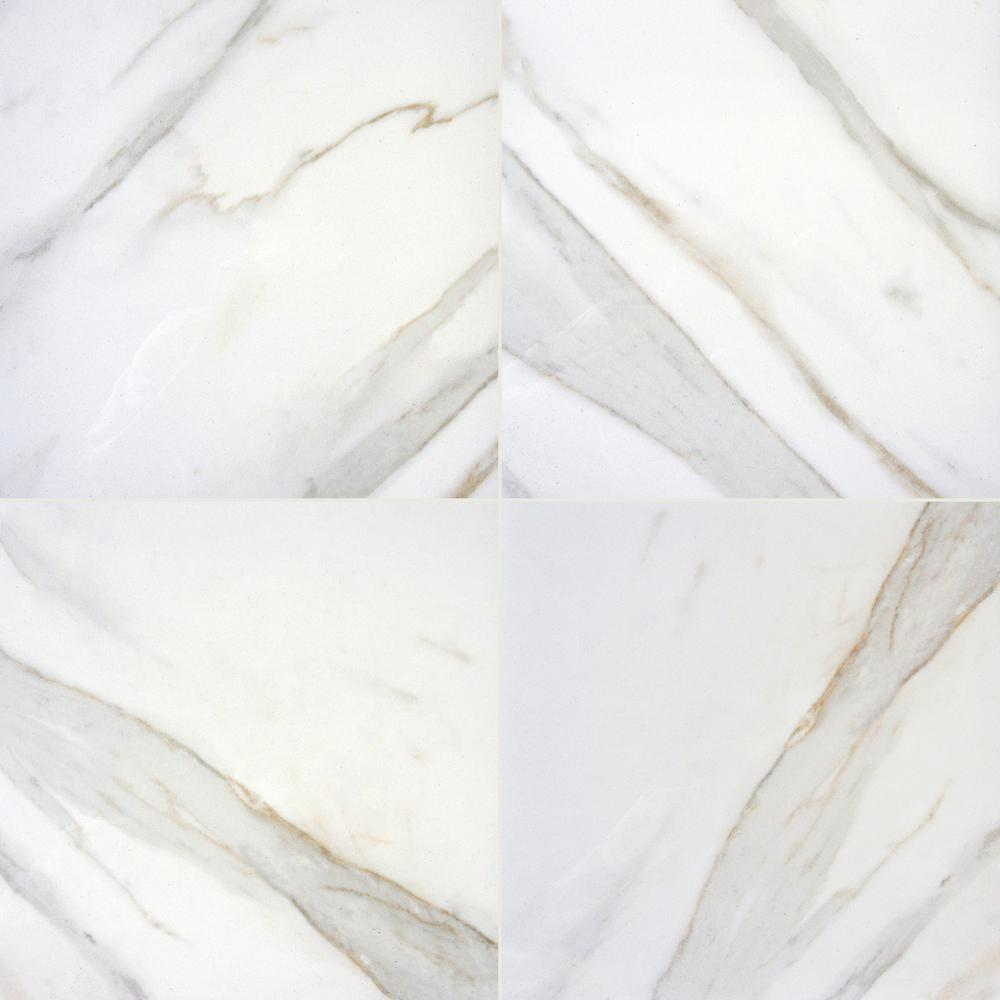 Calacatta Ivory 24 in. x 24 in. Polished Porcelain Floor and Wall Tile (16 sq. ft. / case)