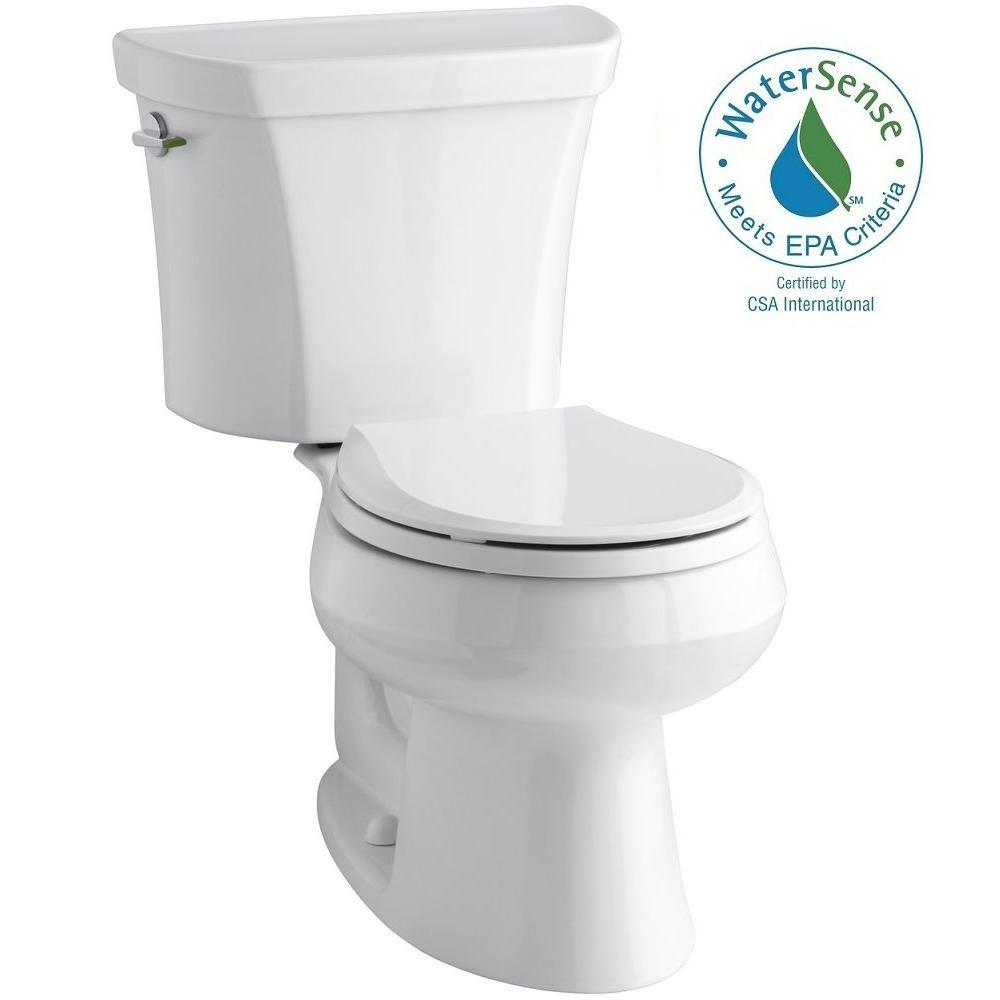KOHLER Wellworth 2-piece 1.1 or 1.6 GPF Dual Flush Round Toilet in White