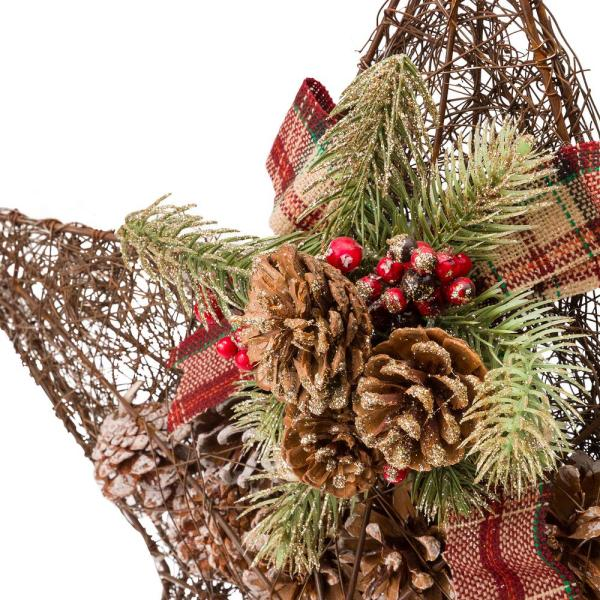 Alpine Corporation 20 In Tall Hanging Rustic Pinecone Christmas Star Decor Cim306hh The Home Depot