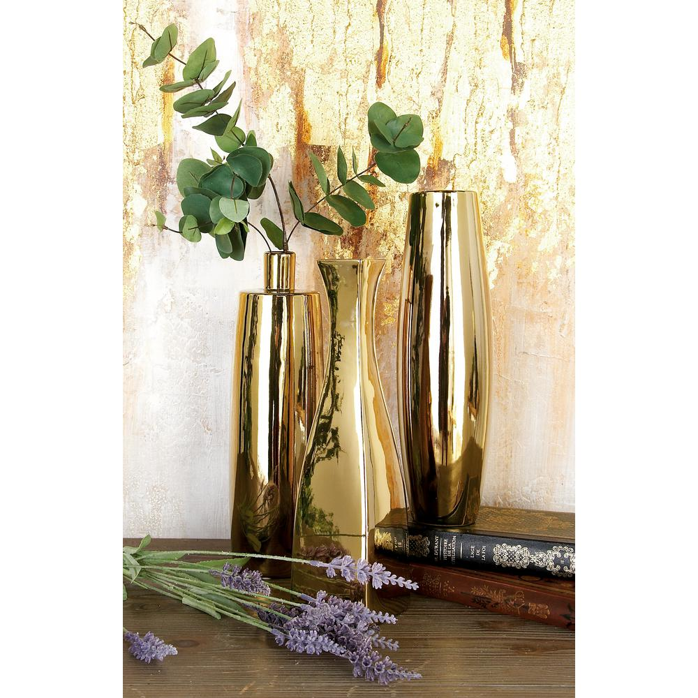 12 in. Modern Gold Ceramic Decorative Vases (Set of 3)