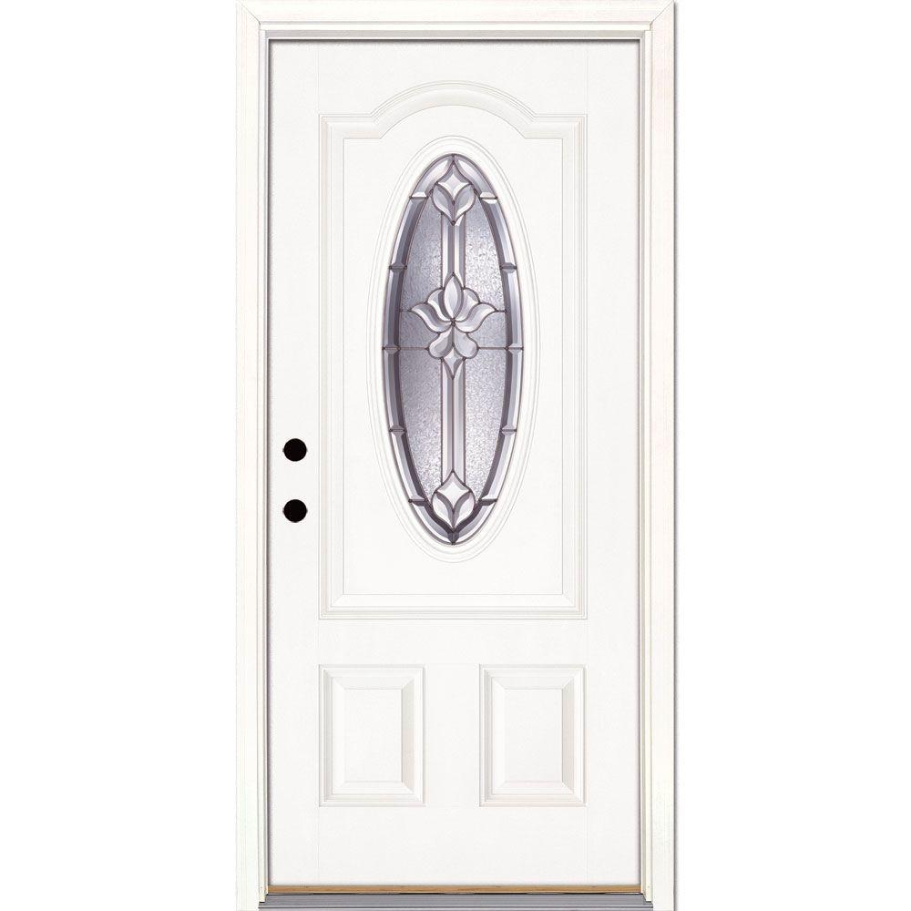 Feather river doors 37 5 in x in medina zinc 3 4 oval lite unfinished smooth right hand - Painting fiberglass exterior doors model ...