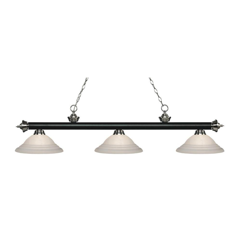 Beck 3-Light Matte Black and Brushed Nickel Island Light with White
