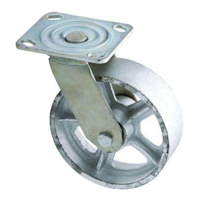 6 in. Zinc-Plated Industrial Swivel Plate Caster with 1100 lb. Load Rating