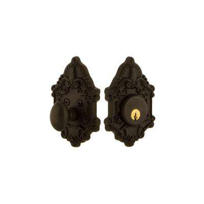 Victorian Plate 2-3/8 in. Backset Single Cylinder Deadbolt in Oil-Rubbed Bronze