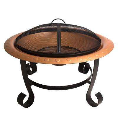 Brentwood 30 in. x 19 in. Round Steel Wood Fire Pit in Copper with Cooking Grid