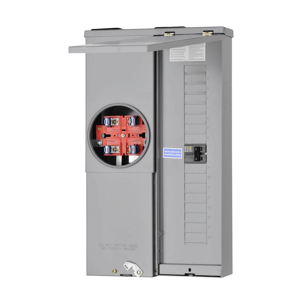 Homeline 100 Amp 16-Space 24-Circuit Outdoor Ring-Type Overhead/Underground Surface Mount Main Breaker CSED