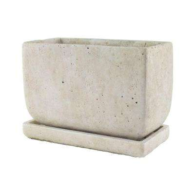 5 in. x 8 in. Cement Planter with Tray