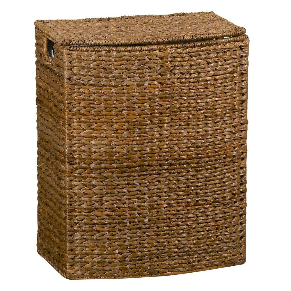 Home Decorators Collection 18 in. W Brown Leaf Rectangular Hampers with LinerDISCONTINUED