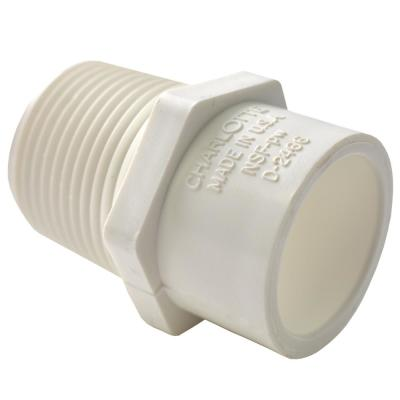 1 in. x 3/4 in. PVC Schedule 40 MPT x S Male Reducer Adapter