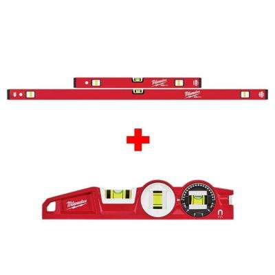 24 in./48 in. REDSTICK Magnetic Compact Box Level Set with 10 in. 360-Degree Locking Die Cast Torpedo Level