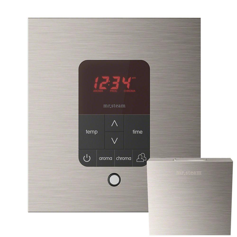 Mr. Steam iTempo Plus Control with AromaSteam Steam Head Square for Steam Bath Generator in Brushed Nickel