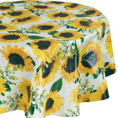 55 in. Yellow Round Indoor and Outdoor Sunflower Design Table Cloth for Dining Table