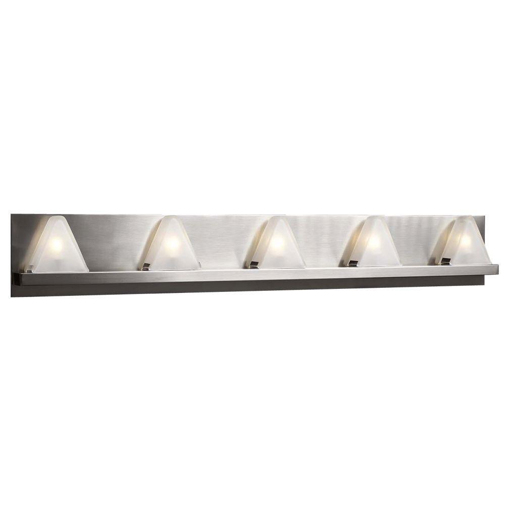 PLC Lighting 5 Light Bath Vanity Satin Nickel Finish Frost Glass