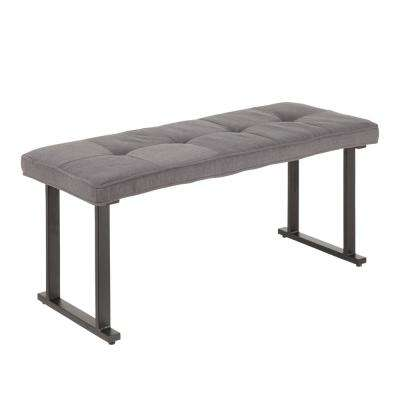 Roman Grey Fabric and Antique Metal Industrial Bench