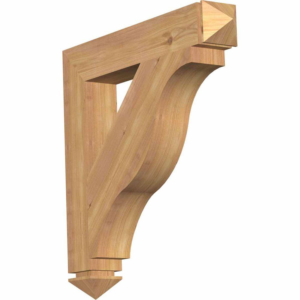 Ekena Millwork 3.5 in. x 24 in. x 24 in. Western Red Cedar Funston Arts and Crafts Smooth Bracket
