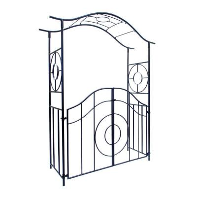 Elegant Handcrafted Tuscany Garden Arbor with Gate, 84 in. Tall Graphite Powder Coated Finish