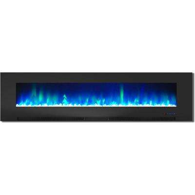 78 in. Wall-Mount Electric Fireplace in Black with Multi-Color Flames and Crystal Rock Display