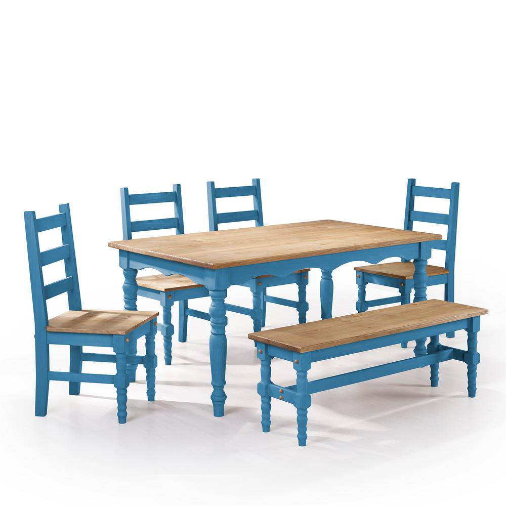 Beautiful Manhattan Comfort Jay 6 Piece Blue Wash Solid Wood Dining Set With 1 Bench