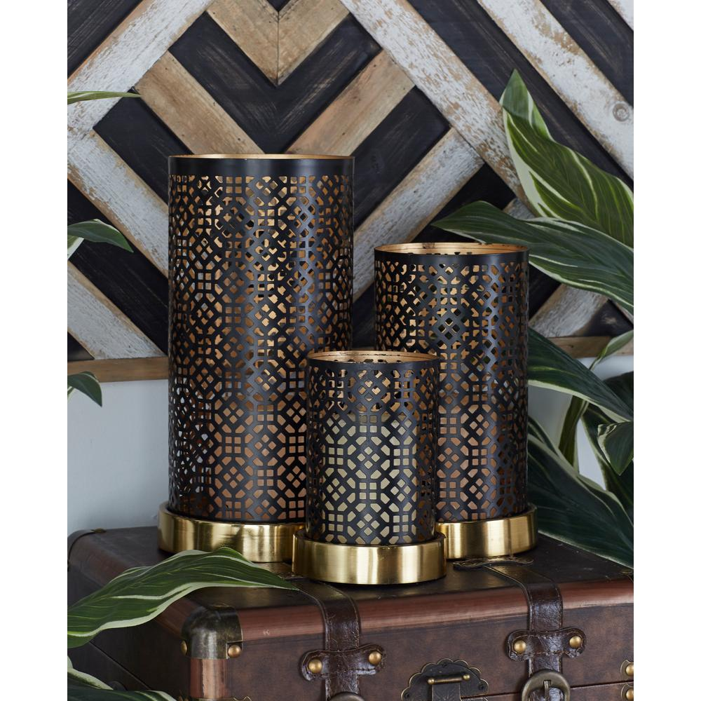 Black Octagonal Geometric Candle Holders (Set of 3)