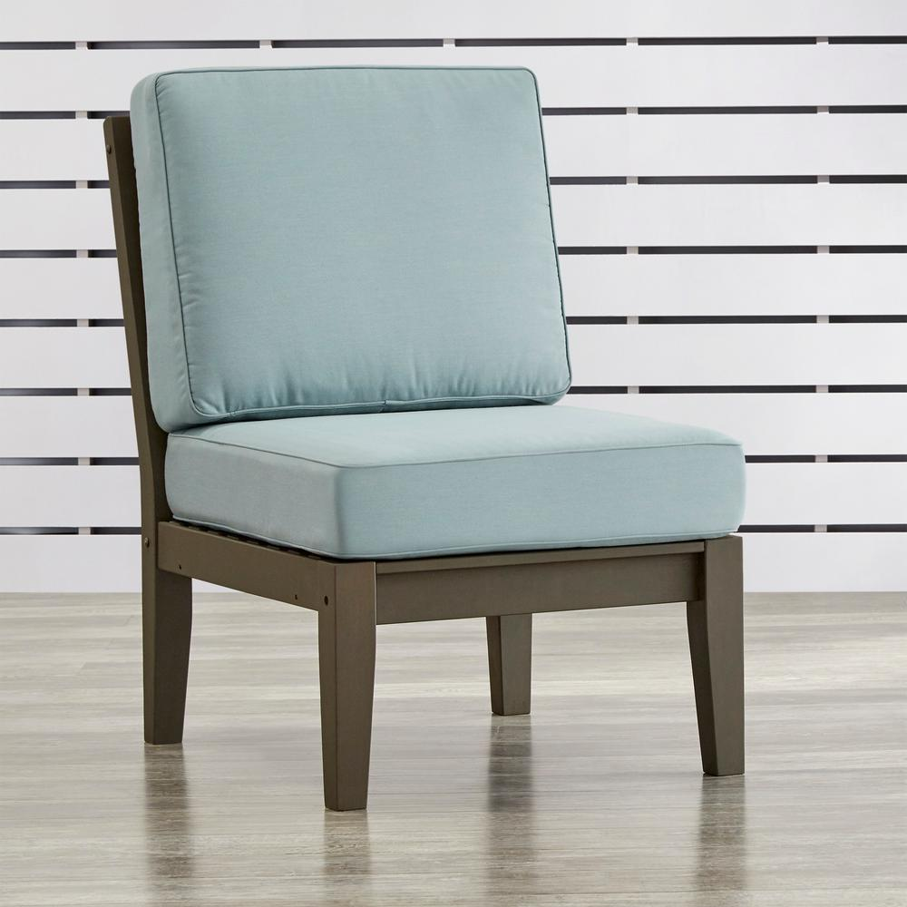 Verdon Gorge Gray Oiled Wood Outdoor Extension Lounge Chair with Blue