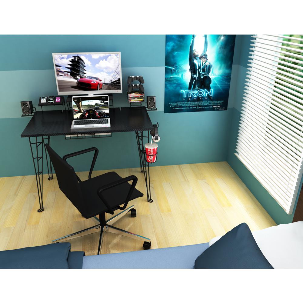 Atlantic Black Gaming Desk 33935701 - The Home Depot