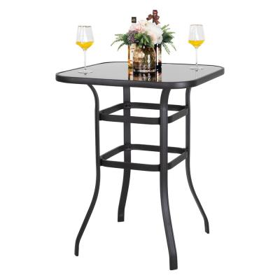 32 in. Glass top Metal Pub Height Bistro Square Outdoor Table