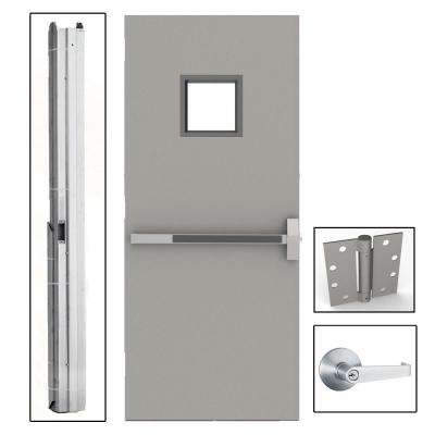 36 in. x 84 in. Gray Flush Exit with 10 in. x 10 in. VL Left-Hand Fireproof Steel Commercial Door with Knockdown Frame