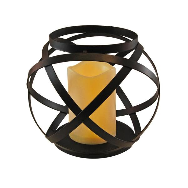Metal Lantern with Battery Operated Candle- Black Banded