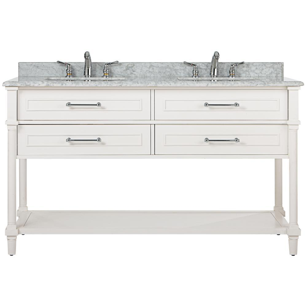 Aberdeen 60 in. W Open Shelf Double Vanity in White with