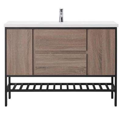 Memphis 48 in. W x 18 in. D Vanity in Taupe with Porcelain Vanity Top with White Basin