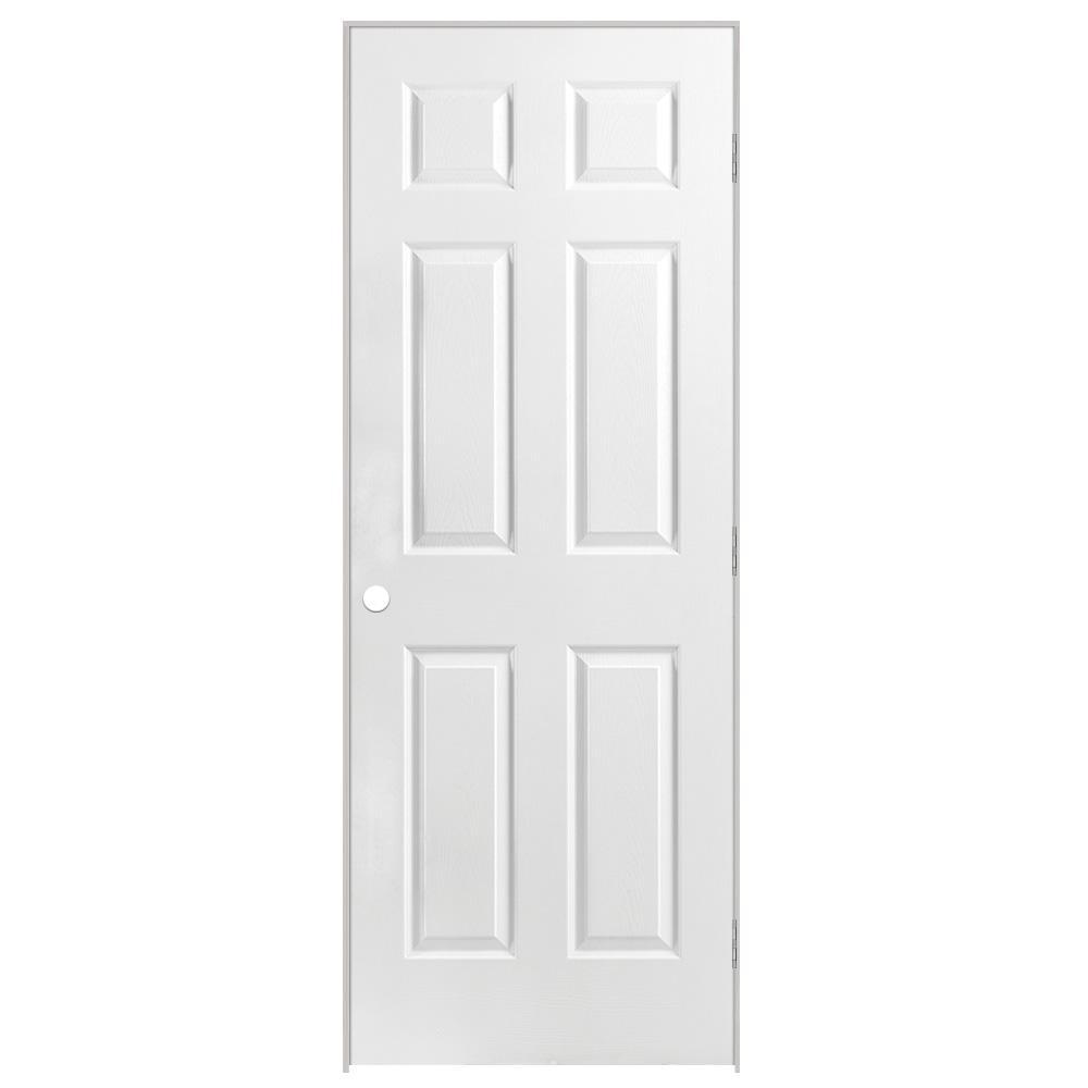30 in. x 80 in. Solidoor 6-Panel Left-Handed Solid-Core Textured Primed Composite Single Prehung Interior Door