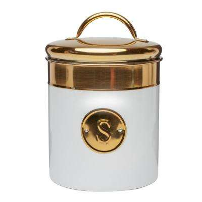 Simone 76 oz. Metal Sugar Storage Canister with Gold Emblem