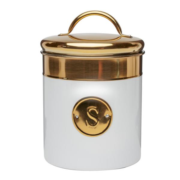 Amici Home Simone 76 oz. Metal Sugar Storage Canister with Gold Emblem