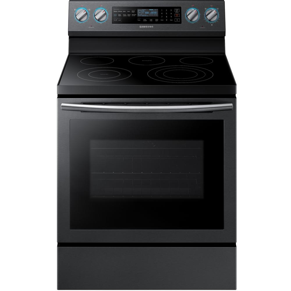 Samsung 30 in. 5.9 cu. ft. Single Oven Electric Range with Convection Oven in Fingerprint Resistant Black Stainless