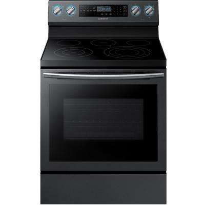 30 in. 5.9 cu. ft. Single Oven Electric Range with Convection Oven in Fingerprint Resistant Black Stainless