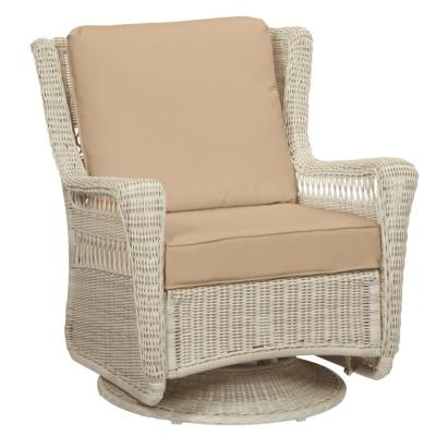 Park Meadows Off-White Wicker Outdoor Patio Swivel Rocking Lounge Chair with Sunbrella Beige Tan Cushions