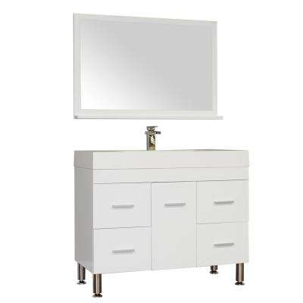 The Modern 39.25 in. W x 18.75 in. D Bath Vanity in White with Acrylic Vanity Top in White with White Basin and Mirror