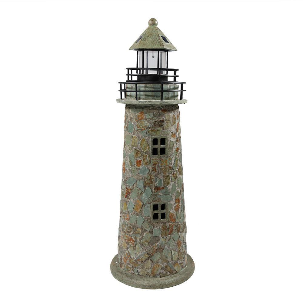 35 in. Cobblestone Solar LED Garden Statue Lighthouse