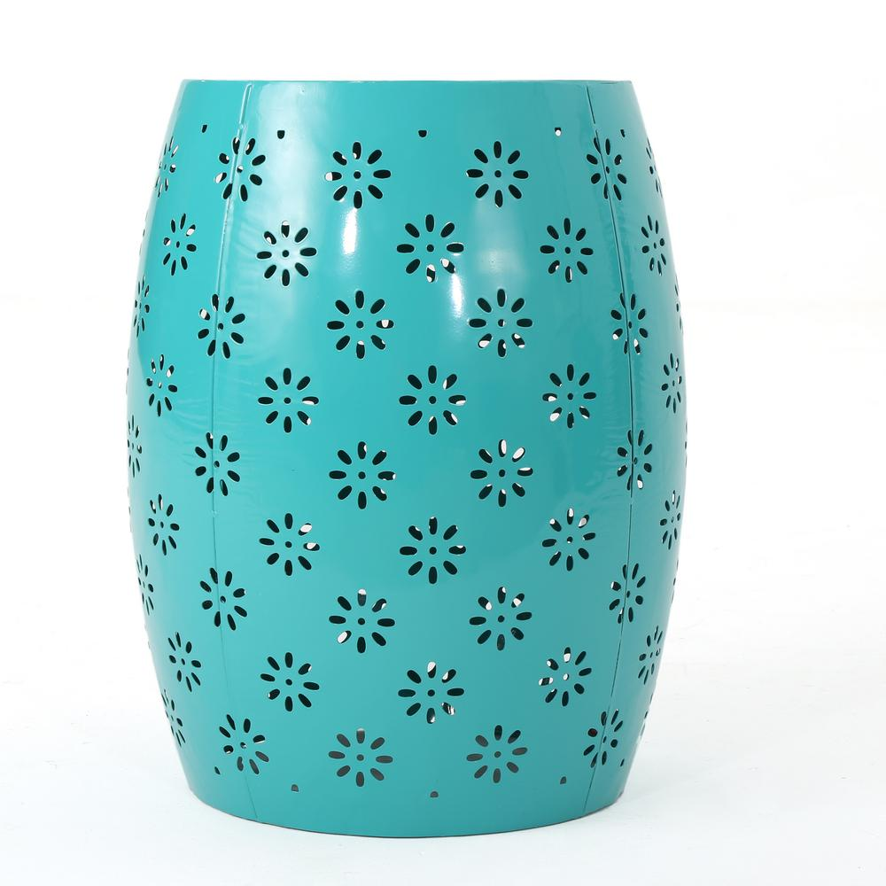 Soleil Teal Round Metal Outdoor Side Table