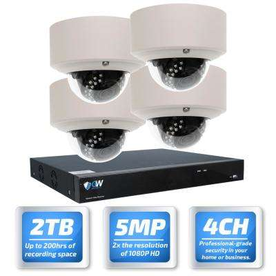 4-Channel 5MP Security Surveillance System NVR with 4-Camera 2.8-12 mm Varifocal Zoom Lens 100 ft. Night Vision 2TB HDD