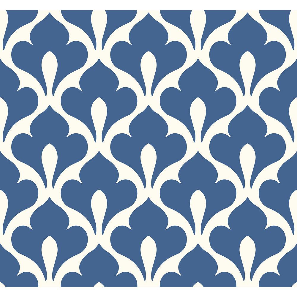 Grenada Retro Blue and White Fleur De Lis Wallpaper