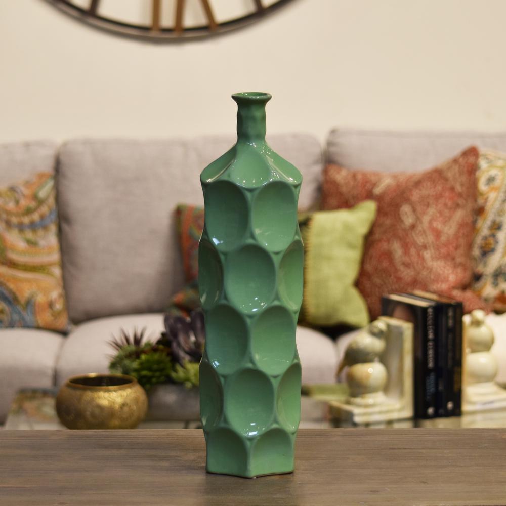 Green Gloss Finish Ceramic Decorative Vase